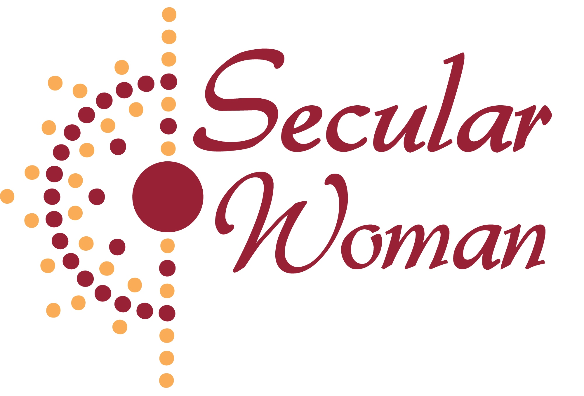 Secular Woman logo: stylized radium icon in dark red and light orange. Text: Secular Woman.